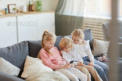 Children sitting at home