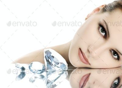 Beautiful woman with crystals