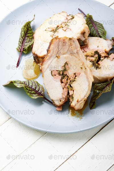 Roast pork meat with herb