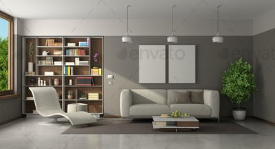 Modern living room with sofa and chaise lounge