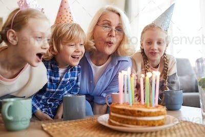 Celebrating birthday with grandmother
