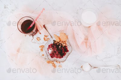 Beautiful flat lay of sweet dessert, milk and juice