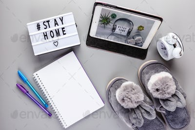 Stay home text Lightbox