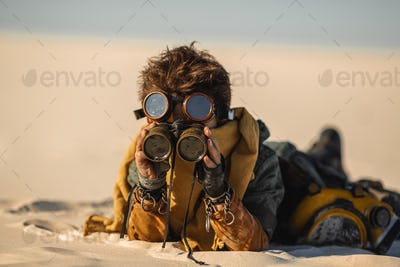 Post-apocalyptic Warrior Boy Outdoors in a Wasteland
