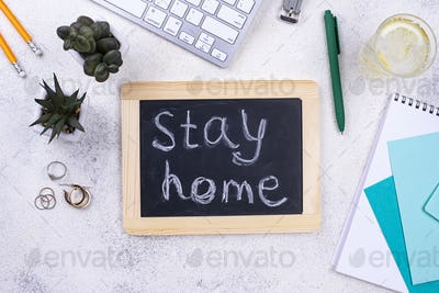 Stay at home and working remotely concept