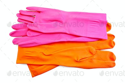 Orange and pink rubber gloves