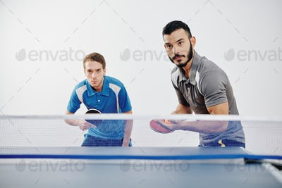 Team of table tennis players