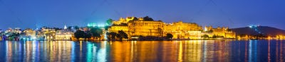 Udaipur City Palace in the evening panorama. Udaipur, India
