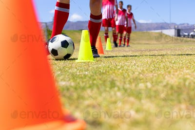Soccer players training