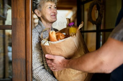Unrecognizable courier delivering shopping to senior woman