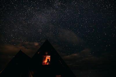 Woman Looking At Sky Night