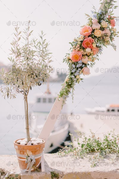 destination wedding arch with sea view in europe