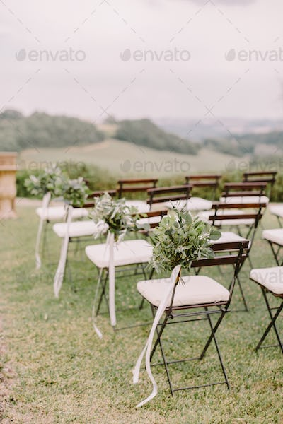 wedding decoration chairs in rustic green style