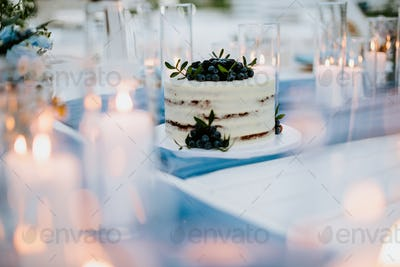 wedding cake with blueberry and blackberry with candles lit around