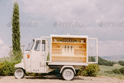 wine and proseco bar on wheels truck