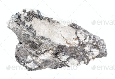 Bismuthinite crystals in quartz rock isolated