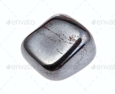 rolled Hematite gemstone isolated on white