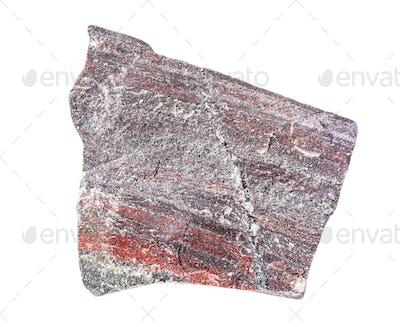 rough jaspilite rock isolated on white
