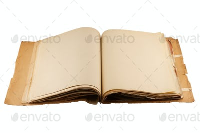 open file folder with aged light brown empty pages