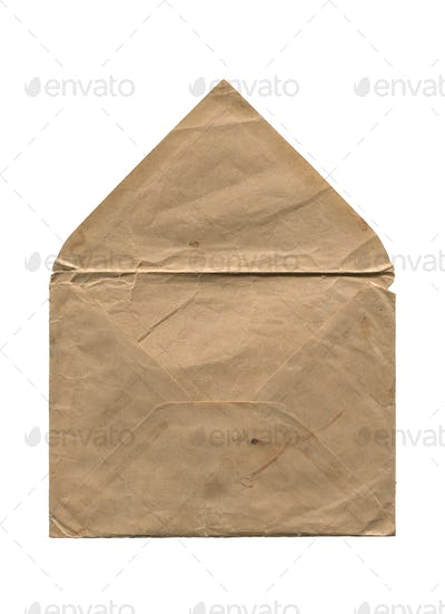 front view of old open aged paper envelope isolated on white
