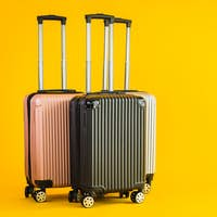 Pink Gray Black color luggage or baggage bag use for transportation travel