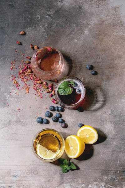 Sparkling colorful drinks