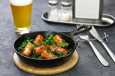 salsiccia e cime di rapa, sausage and braised tunip greens