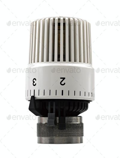 Heater thermostat. Close-up. Isolated on white background.