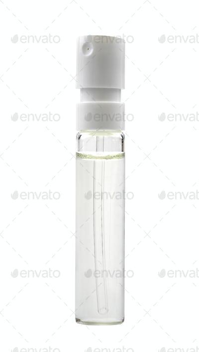 glass sample bottle, isolated on white