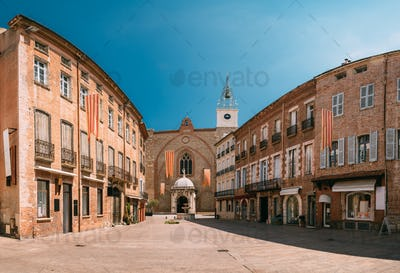 Perpignan, France. Leon Gambetta Square And Cathedral Basilica Of Saint John The Baptist Of