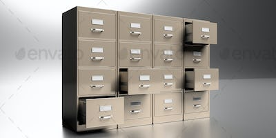 Filing cabinets in a gray background. Office document file organisation. 3d illustration