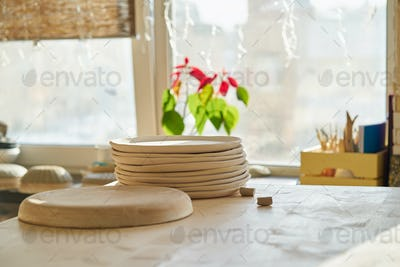 Ceramic studio, manufacturing, workpiece. Beautiful background with ceramic