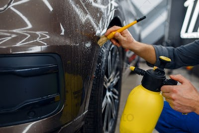Worker cleans car with spray and brush, detailing