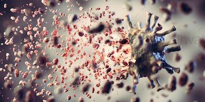 Kill, remove and eliminate coronavirus. Corona virus breaking up into pieces