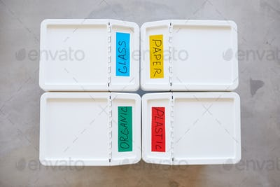 Containers for Waste Sorting Above View