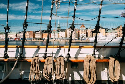 Stockholm, Sweden. Scenic View Of Embankment In Old Town Of Stockholm From Old Ship. Famous Gamla