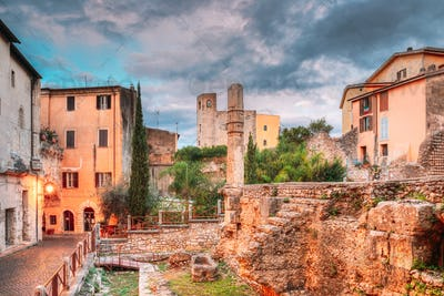 Terracina, Italy. Monumental Complex Of The Emiliano Forum In Evening Time