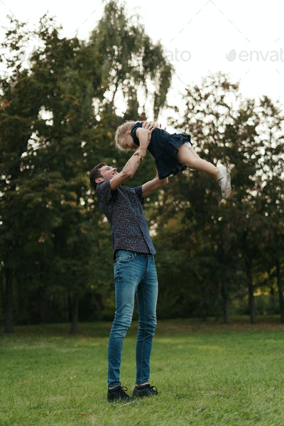 Father and daughter moments spending time in nature