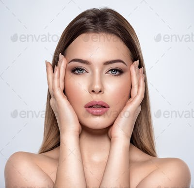 Beauty face of the young beautiful woman