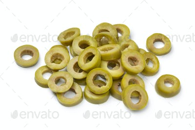 Sliced green olive rings as an ingredient for cooking