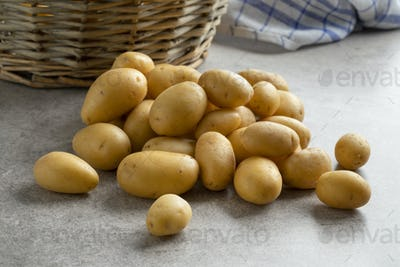 Fresh small new potatoes close up