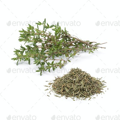 Heap of dried Thyme and fresh thyme twigs