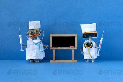 Robotic medicine education, online learning concept.