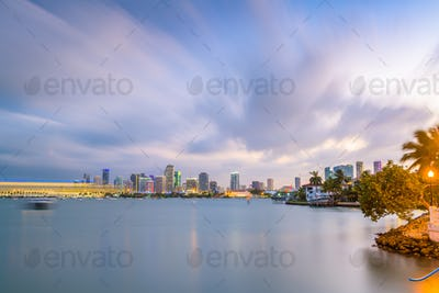 Miami, Florida, USA Downtown Skyline on the Bay