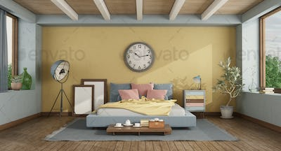 Classic style master bedroom with colorful double bed