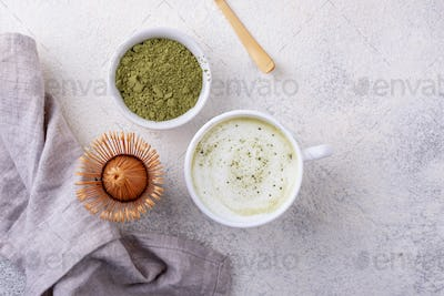 Green healthy matcha latte drink
