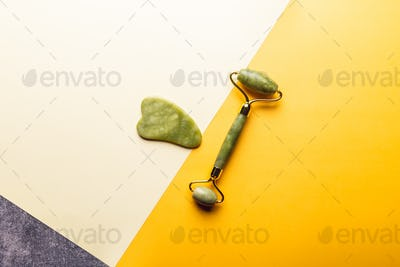 Jade face roller and Gua sha stone