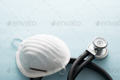 Surgical filtration face mask with stethoscope