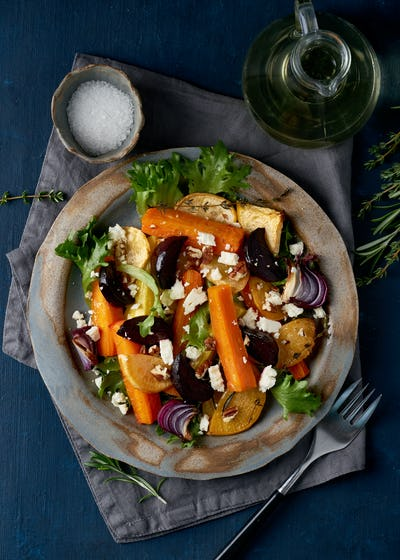 Vegetarian salad ricotta cheese, baked roasted vegetables, keto ketogenic dash diet