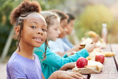Portrait Of Girl With Friends Eating Healthy Picnic At Outdoor Table In Countryside